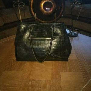 Black Faux Croc Shoulder Bag ❤️offers welcome❤️